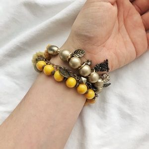 Jewelry - NWOT Yellow elastic beaded bracelet set